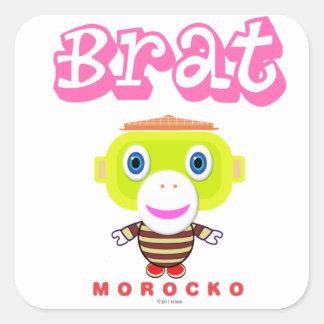 Brat-Cute Monkey-Morocko Square Sticker