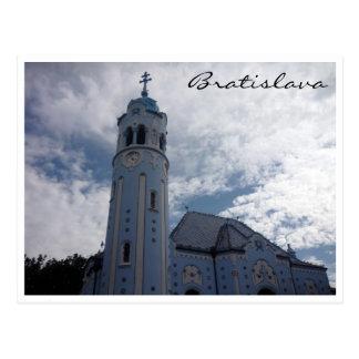bratislava blue church border postcard