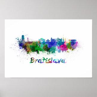 Bratislava skyline in watercolor poster