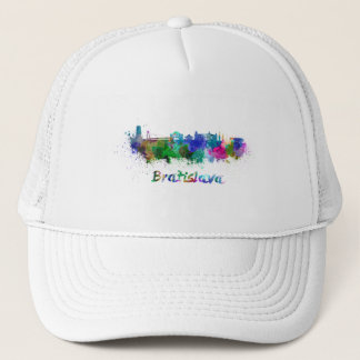 Bratislava skyline in watercolor trucker hat