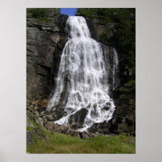 Brattefossen Waterfall Poster