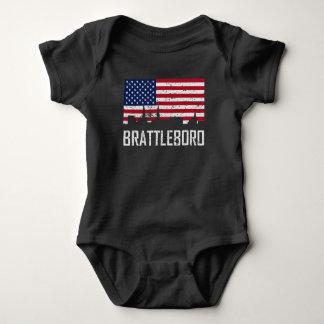 Brattleboro Vermont Skyline American Flag Distress Baby Bodysuit