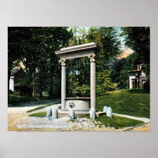 Brattleboro, Vermont, Well's Fountain, Vintage Poster