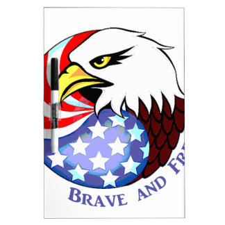 Brave and Free American Eagle Dry Erase White Board
