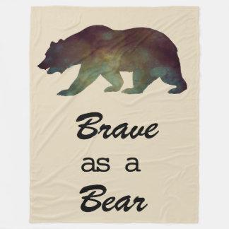 Brave as a Bear Watercolor art Design Fleece Blanket