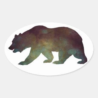Brave as a Bear Watercolor Oval Sticker