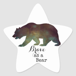 Brave as a Bear Watercolor Typography Star Sticker