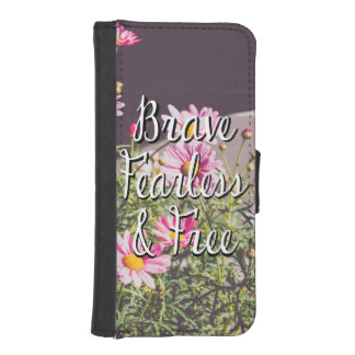Brave, Fearless & Free Quote, Pink Flowers iPhone SE/5/5s Wallet Case
