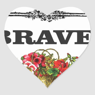 brave flower art heart sticker