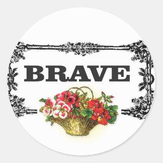 brave flower art round sticker