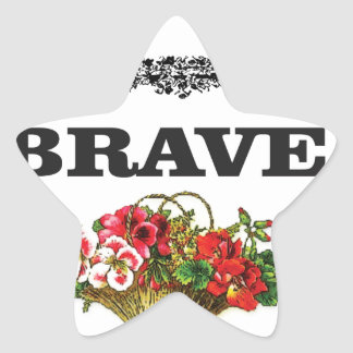 brave flower art star sticker