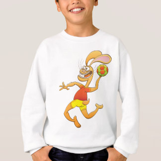 Brave hare ready to shoot while playing handball sweatshirt
