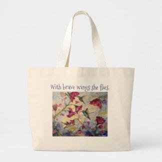 Brave Inspiration Hummingbird Art Jumbo Tote Bag