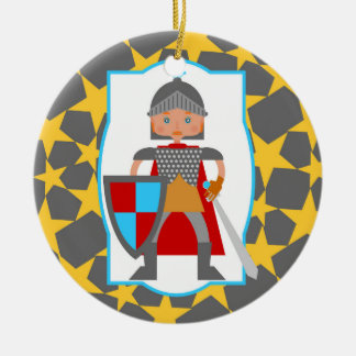 Brave Knight Boy Birthday Party Round Ceramic Ornament