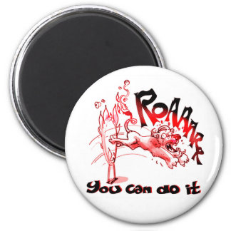 brave lion passing through the fire ring 2 inch round magnet