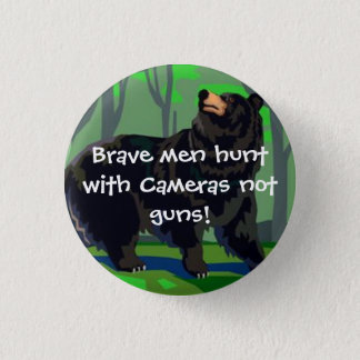 Brave men hunt with cameras 1 inch round button