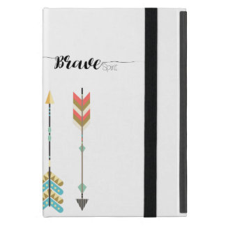 """Brave Spirit"" Text with Boho Arrow Pattern iPad Mini Case"