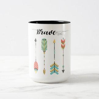 """Brave Spirit"" Text with Boho Arrow Pattern   Mug"