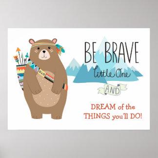 Brave Tribal Bear Cute Nursery Poster