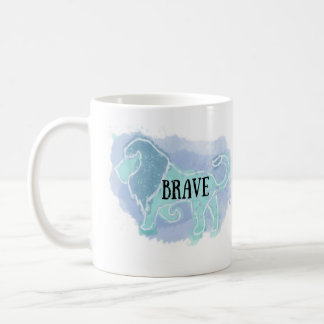 'Brave' Watercolor Lion Mug