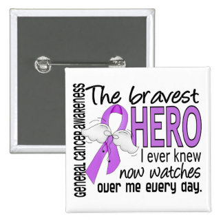 Bravest Hero I Ever Knew General Cancer 2 Inch Square Button