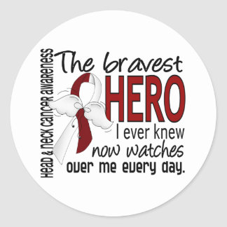 Bravest Hero I Ever Knew Head and Neck Cancer Round Sticker