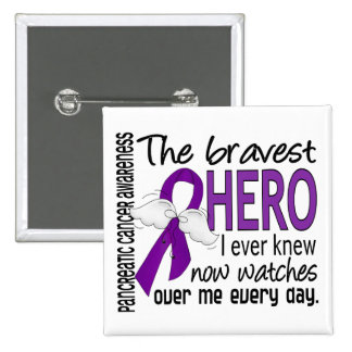 Bravest Hero I Ever Knew Pancreatic Cancer 2 Inch Square Button