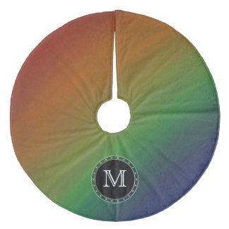 Brazen Holiday | Monogram Rainbow Flag Abstract Fleece Tree Skirt
