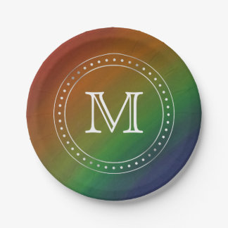 Brazen Party | Monogram Rainbow Ombre Pride Flag Paper Plate