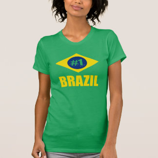 Brazil #1 Flag Yellow Text T-Shirt