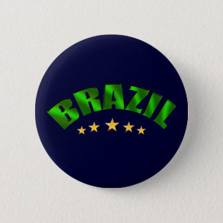 Brazil 5 star World Champions Soccer Gifts 2 Inch Round Button