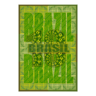 Brazil Brasil  Amazon Inspired Soccer 10 Sports Poster