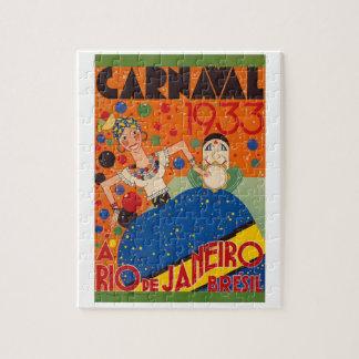 Brazil Carnival 1933 Vintage World Travel Poster Jigsaw Puzzle