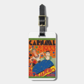 Brazil Carnival 1933 Vintage World Travel Poster Luggage Tag