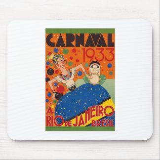 Brazil Carnival 1933 Vintage World Travel Poster Mouse Pad