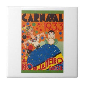Brazil Carnival 1933 Vintage World Travel Poster Tile