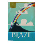 brazil christ the redeemer vintage travel poster