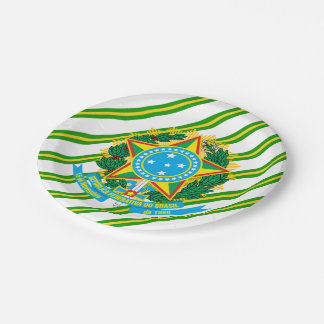 Brazil coat arms paper plate