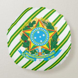 Brazil coat arms round pillow