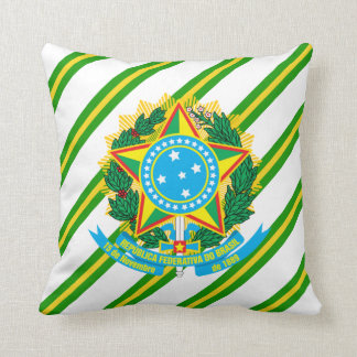 Brazil coat arms throw pillow