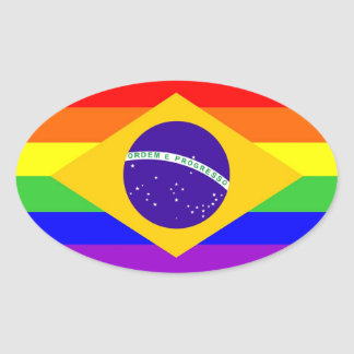 brazil country gay proud rainbow flag homosexual oval sticker