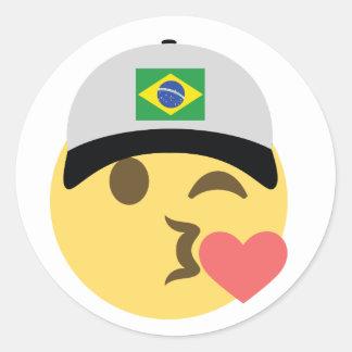 Brazil Emoji Baseball Hat Round Sticker