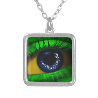 Brazil Falg Silver Plated Necklace