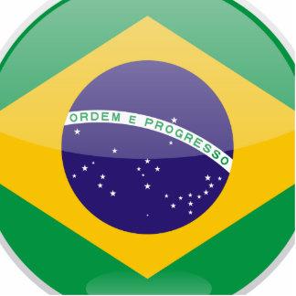Brazil Flag Button Photo Sculpture Ornament