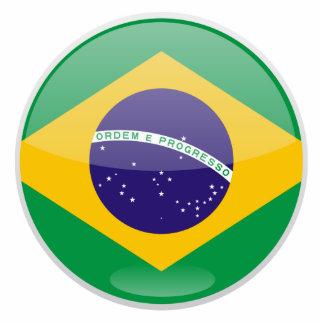Brazil Flag Button Standing Photo Sculpture
