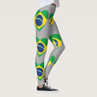 Brazil Flag design pattern leggings