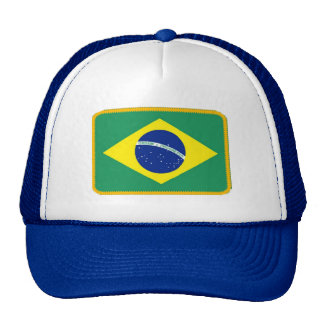Brazil flag embroidered effect hat