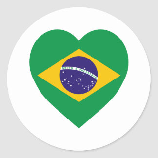 Brazil Flag Heart Classic Round Sticker