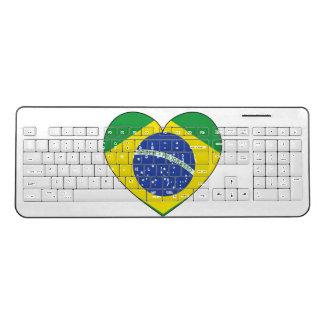 Brazil Flag Heart Wireless Keyboard