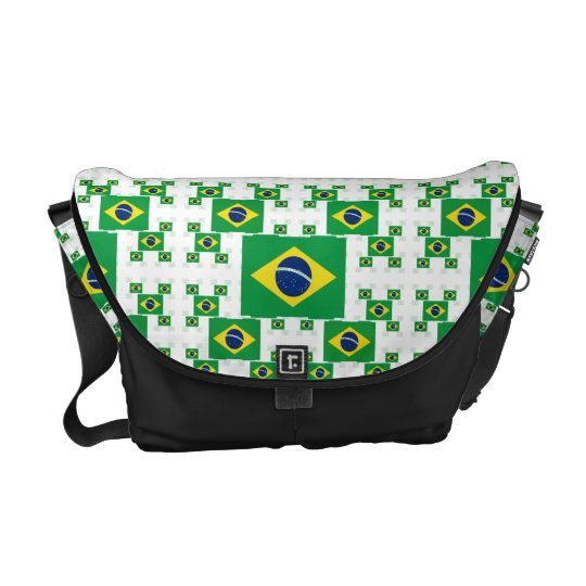 Brazil Flag in Multiple Colourful Layers 2 Messenger Bag